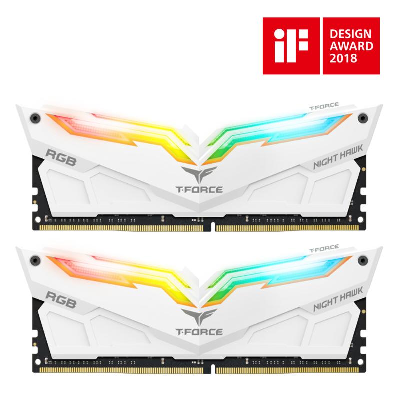 Memoria Team Group T-Force DDR4 16GB 2x8GB 3000Mhz CL16 Night Hawk RGB - White